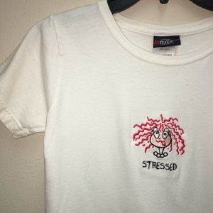 """OLD VARSITY BRAND - """"STRESSED"""" Embroidered T-Shirt"""